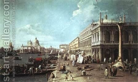 The Molo With The Library And The Entrance To The Grand Canal by (Giovanni Antonio Canal) Canaletto - Reproduction Oil Painting