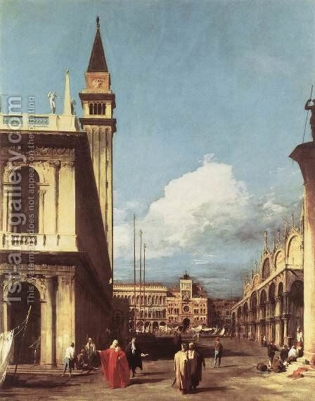 The Piazzetta  Looking Toward The Clock Tower by (Giovanni Antonio Canal) Canaletto - Reproduction Oil Painting