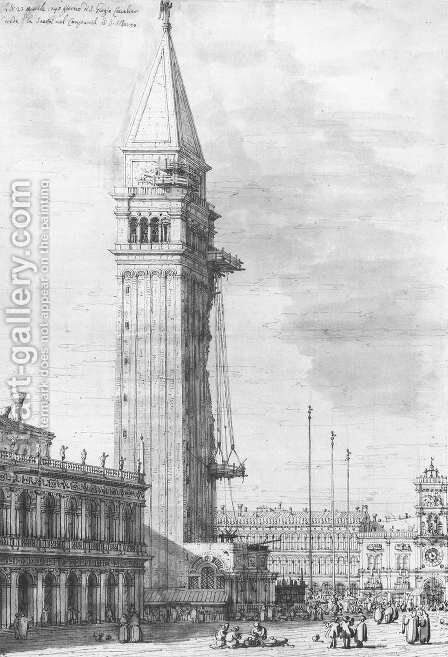 The Piazzetta Looking North The Campanile Under Repair by (Giovanni Antonio Canal) Canaletto - Reproduction Oil Painting