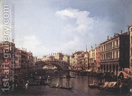The Rialto Bridge From The South by (Giovanni Antonio Canal) Canaletto - Reproduction Oil Painting