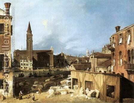 The Stonemason's Yard 1728 by (Giovanni Antonio Canal) Canaletto - Reproduction Oil Painting