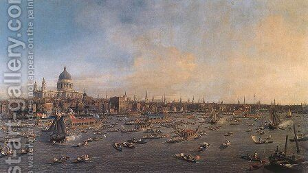 The Thames And The City by (Giovanni Antonio Canal) Canaletto - Reproduction Oil Painting