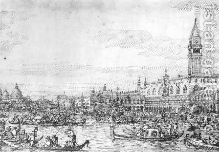 Venice   The Canale Di San Marco With The Bucintoro At Anchor by (Giovanni Antonio Canal) Canaletto - Reproduction Oil Painting