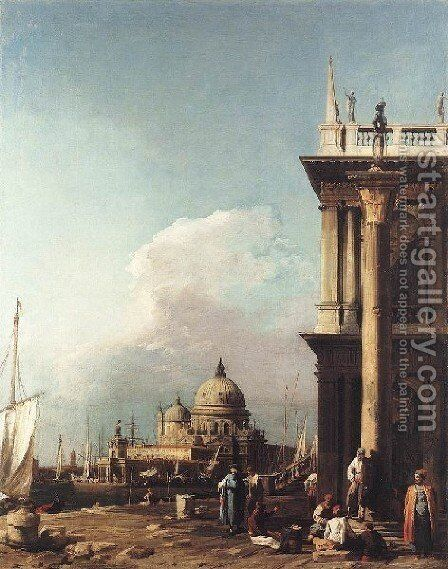 Venice   The Piazzetta Looking South West Towards S  Maria Della Salute by (Giovanni Antonio Canal) Canaletto - Reproduction Oil Painting