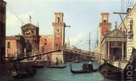 View Of The Entrance To The Arsenal by (Giovanni Antonio Canal) Canaletto - Reproduction Oil Painting
