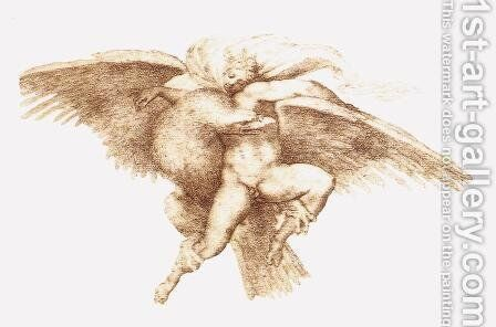 The Rape of Ganymede c. 1533 by Michelangelo - Reproduction Oil Painting