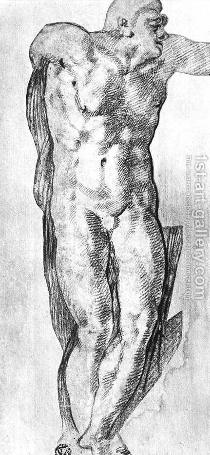 Study of a Nude Man by Michelangelo - Reproduction Oil Painting