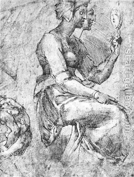 Study of a Seated Woman by Michelangelo - Reproduction Oil Painting