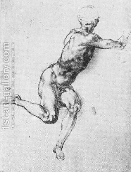 Battle Of Cascina  Study For A Figure by Michelangelo - Reproduction Oil Painting