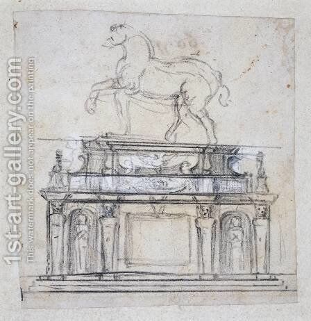 Design For A Statue Of Henry II Of France On Horseback by Michelangelo - Reproduction Oil Painting