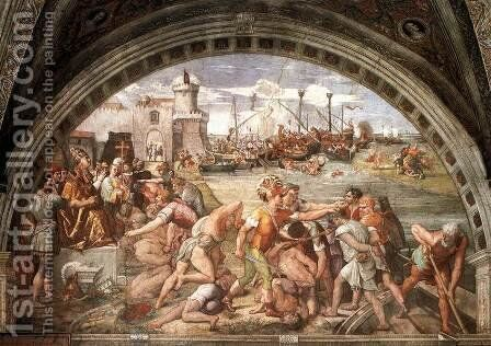 The Battle Of Ostia by Raphael - Reproduction Oil Painting