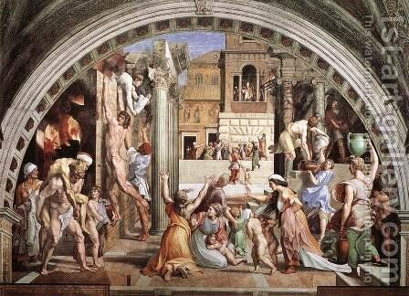 The Fire in the Borgo (from the Stanza dell'Incendio di Borgo) by Raphael - Reproduction Oil Painting