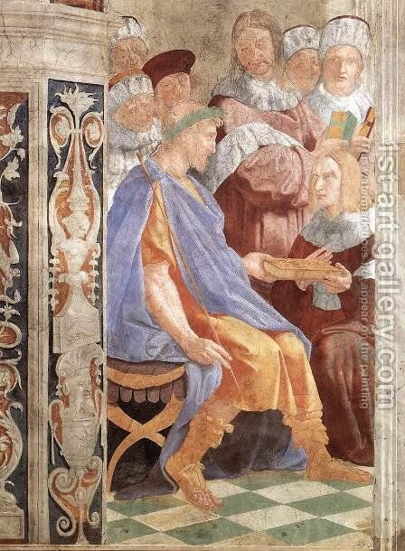 Justinian Presenting The Pandects To Trebonianus by Raphael - Reproduction Oil Painting