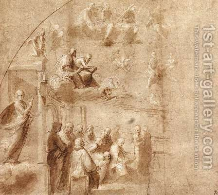 Study For The Disputa by Raphael - Reproduction Oil Painting