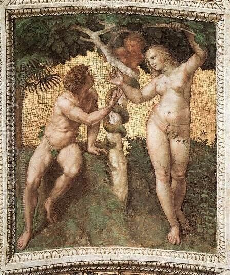 The Stanza Della Segnatura Ceiling  Adam And Eve by Raphael - Reproduction Oil Painting