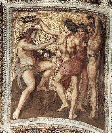 The Stanza Della Segnatura Ceiling  Apollo And Marsyas by Raphael - Reproduction Oil Painting