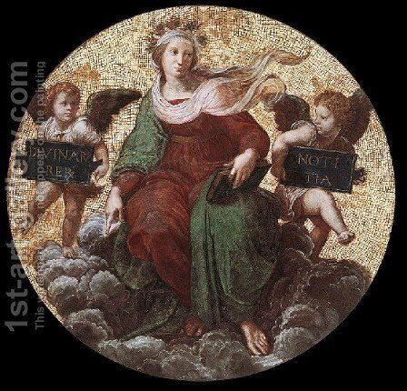 The Stanza Della Segnatura Ceiling  Theology by Raphael - Reproduction Oil Painting