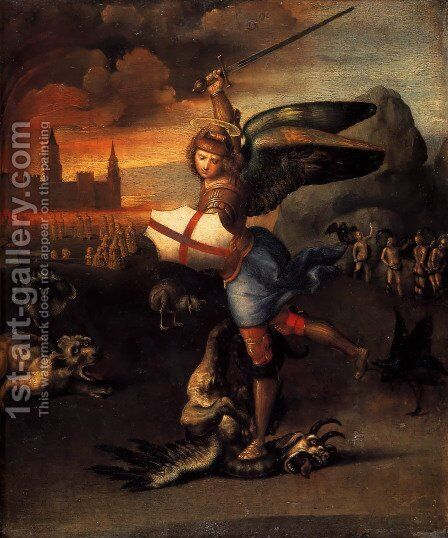 Saint Michael And The Dragon by Raphael - Reproduction Oil Painting