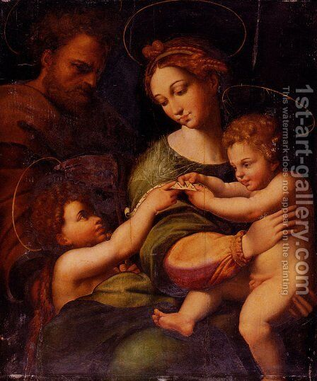 Holy Family With Saint John The Baptist by Raphael - Reproduction Oil Painting
