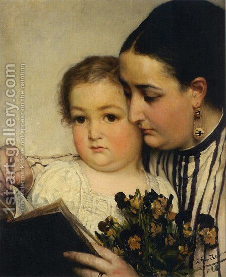 Portrait Of Mme Bonnefoy And M  Puttemans by Sir Lawrence Alma-Tadema - Reproduction Oil Painting