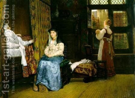 A Birth Chamber  Seventeenth Century by Sir Lawrence Alma-Tadema - Reproduction Oil Painting