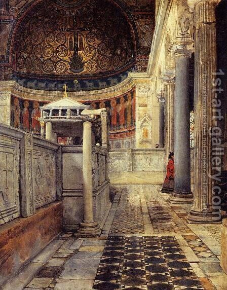 Interior Of The Church Of San Clemente Rome by Sir Lawrence Alma-Tadema - Reproduction Oil Painting