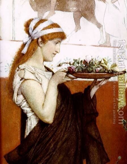 A Votive Offering   Detail by Sir Lawrence Alma-Tadema - Reproduction Oil Painting