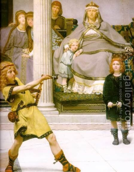 The Education Of The Children Of Clovis   Detail by Sir Lawrence Alma-Tadema - Reproduction Oil Painting