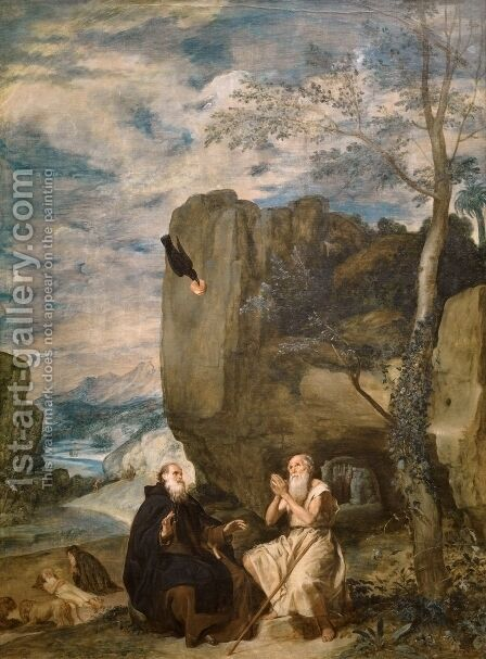 St  Anthony Abbot And St  Paul The Hermit by Velazquez - Reproduction Oil Painting