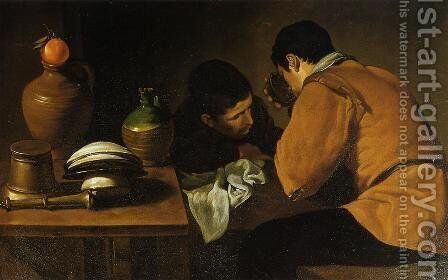 Two Young Men At A Table by Velazquez - Reproduction Oil Painting