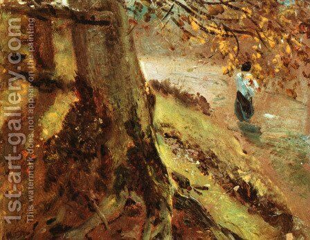 Tree Trunks by John Constable - Reproduction Oil Painting