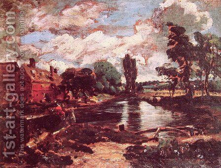 Flatford Mill from a Lock on the Stour c. 1811 by John Constable - Reproduction Oil Painting