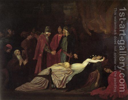 The Reconciliation Of The Montagues And Capulets Over The Dead Bodies Of Romeo And Juliet by Lord Frederick Leighton - Reproduction Oil Painting