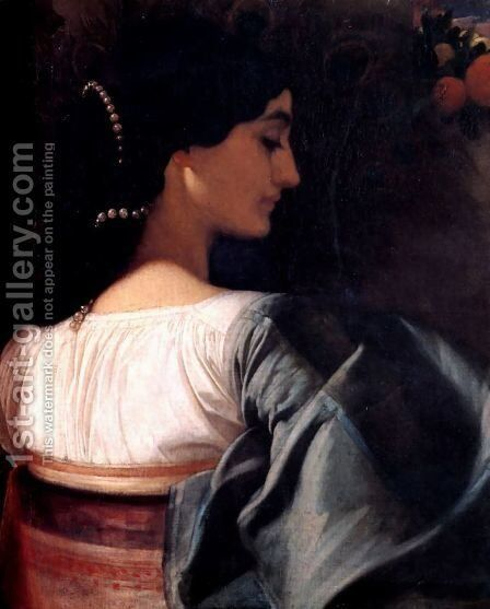 An Italian Lady by Lord Frederick Leighton - Reproduction Oil Painting
