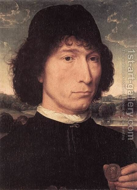 Portrait of a Man with a Roman Coin 1480 by Hans Memling - Reproduction Oil Painting