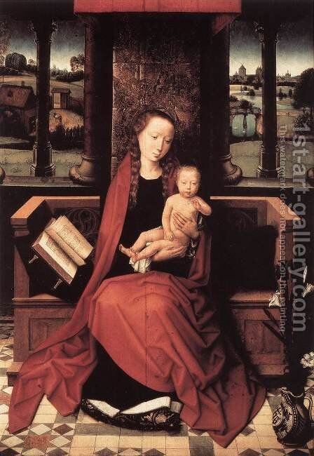 Virgin and Child Enthroned 1480s by Hans Memling - Reproduction Oil Painting