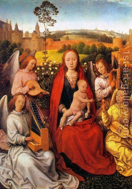 Virgin and Child with Musician Angels 1480 by Hans Memling - Reproduction Oil Painting