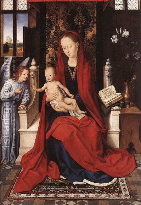 Virgin Enthroned with Child and Angel c. 1480 by Hans Memling - Reproduction Oil Painting