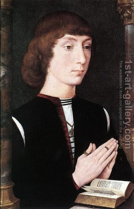 Young Man at Prayer c. 1475 by Hans Memling - Reproduction Oil Painting