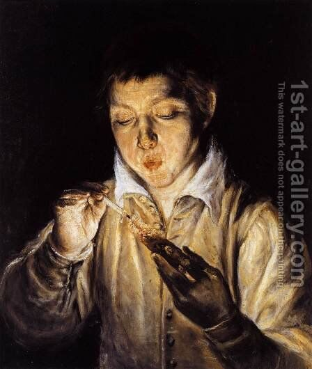 A Boy Blowing on an Ember to Light a Candle (Soplón) 1570-72 by El Greco - Reproduction Oil Painting