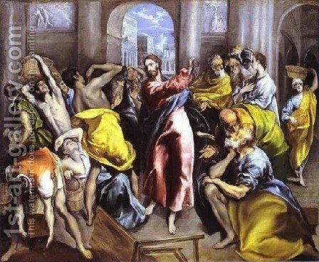 Christ Driving The Traders From The Temple Ii by El Greco - Reproduction Oil Painting