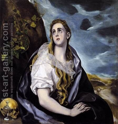 Mary Magdalen in Penitence 1578-80 by El Greco - Reproduction Oil Painting