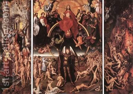 Last Judgment Triptych (open) 1467-71 by Hans Memling - Reproduction Oil Painting