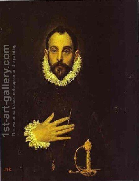 Portrait Of A Nobleman With His Hand On His Chest by El Greco - Reproduction Oil Painting
