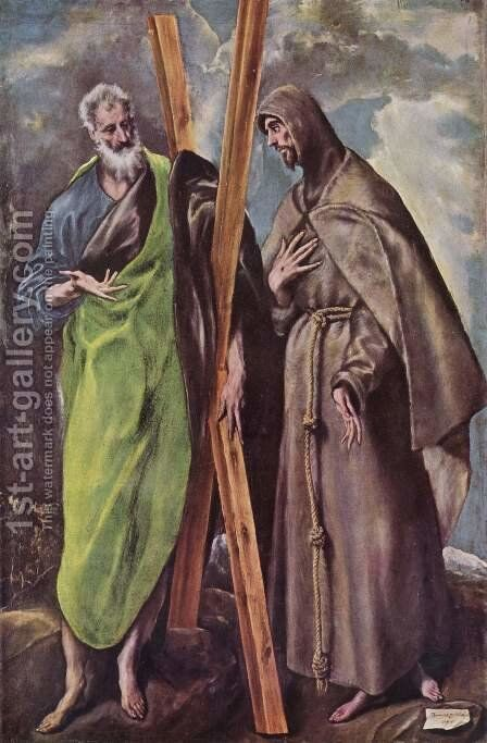 St Andrew and St Francis 1595 by El Greco - Reproduction Oil Painting