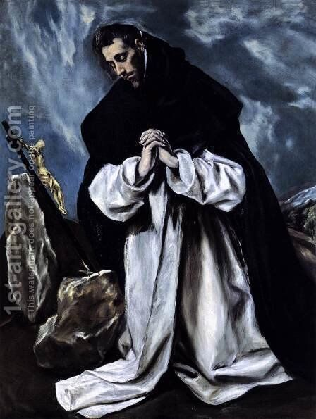 St Dominic in Prayer 1586-90 by El Greco - Reproduction Oil Painting