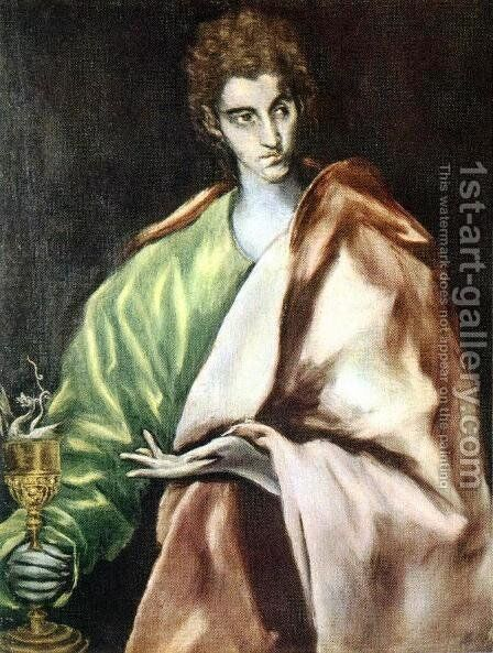 Apostle St John the Evangelist 1610-14 by El Greco - Reproduction Oil Painting