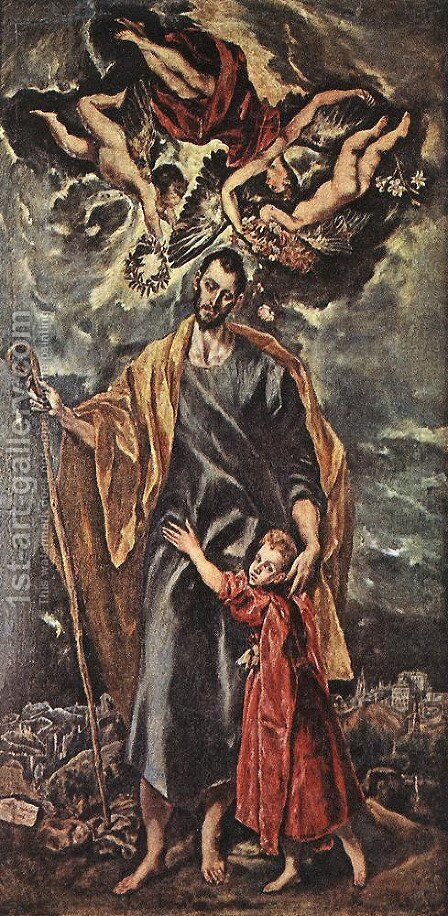 St Joseph and the Christ Child 1597-99 by El Greco - Reproduction Oil Painting