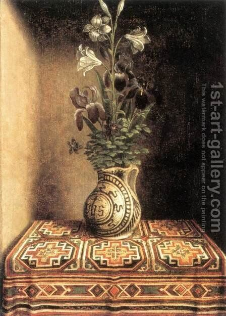Flower Still-life c. 1490 by Hans Memling - Reproduction Oil Painting