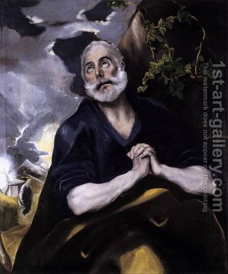 St Peter in Penitence 1580s by El Greco - Reproduction Oil Painting